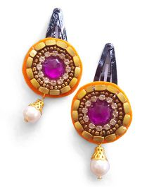 Soulfulsaai Ethnic Kundan Clips - Orange & Purple