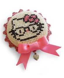 Soulfulsaai Cross Stitch Kitten Design Broach - Pink