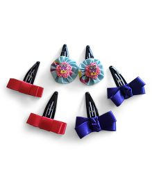 Soulfulsaai 3 Pairs Of Cross Snap Clips - Pink & Blue