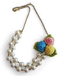Soulfulsaai Crochet Rosette Pearl Necklace - Off White