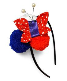 Soulfulsaai Pompom Butterfly Hairband - Red & Blue
