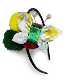 Soulfulsaai Pompom Butterfly Hairband - Yellow & Green