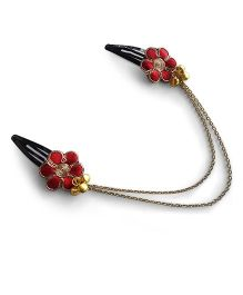 Soulfulsaai Satin Embroiderd Flower Headchain - Red