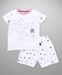 Ollypop Half Sleeves T-Shirt And Shorts Star Print - White