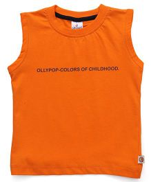 Ollypop Sleeveless Tee Text Print - Orange