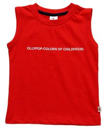 Ollypop Sleeveless Tee Text Print - Red