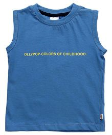Ollypop Sleeveless Tee Text Print - Blue