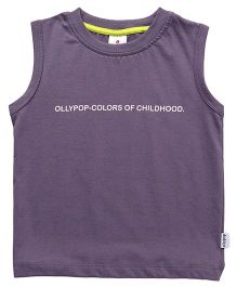 Ollypop Sleeveless Tee Text Print - Purple