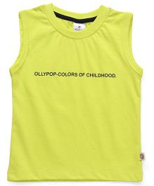 Ollypop Sleeveless Tee Text Print - Green