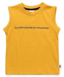 Ollypop Sleeveless Tee Text Print - Golden Yellow