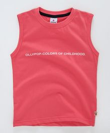 Ollypop Sleeveless Tee Text Print - Carrot Red