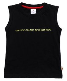 Ollypop Sleeveless Tee Text Print - Black