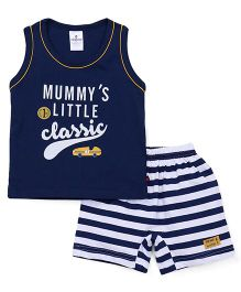 Ollypop Sleeveless T-shirt With Shorts Printed - Navy