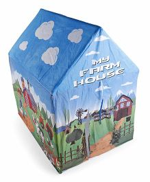 Luvely Play Tent House Cow Tractor Farmer Print - Blue