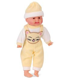Smiles Creation Baby Doll Cat Print Yellow - 35 cm