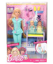 Barbie Doctor Doll Dentist With Patient Baby Multi Color - 28 cm
