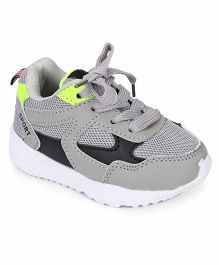 Cute Walk by Babyhug Sports Shoes With Lace Tie - Light Grey Green