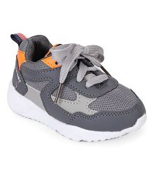 Cute Walk by Babyhug Sports Shoes With Lace Tie - Dark Grey Orange