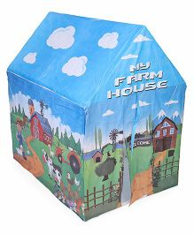 Luvely Play Tent My Farm House Print - Blue Green