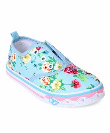 Cute Walk by Babyhug Slip-On Shoes Floral Print - Blue