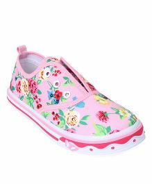 Cute Walk by Babyhug Slip-On Shoes Floral Print - Pink