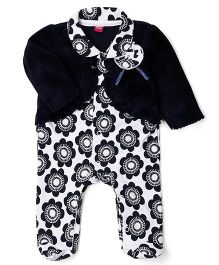 Wow Girl Footed Romper With Shrug Flower Applique - Navy Blue White