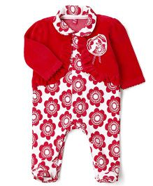 Wow Girl Footed Romper With Shrug Flower Applique - White Dark Pink