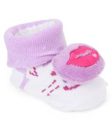 Cute Walk by Babyhug Sock Shoes Lips Motif - Purple