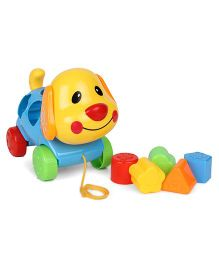 Sunny Pull Along Stacker Dog Toy - Yellow Blue