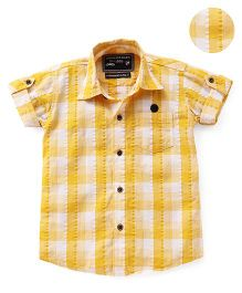 Jash Kids Half Sleeves Checks Shirt - Yellow & White