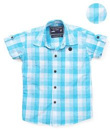Jash Kids Half Sleeves Checks Shirt - Blue & White