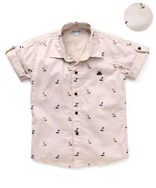 Jash Kids Half Sleeves Dotted Shirt Tree Design - Fawn
