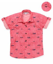 Jash Kids Half Sleeves Shirt Transport Print - Peach