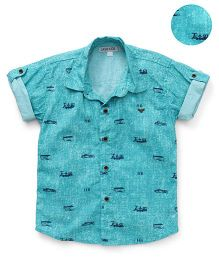 Jash Kids Half Sleeves Shirt Transport Print - Green
