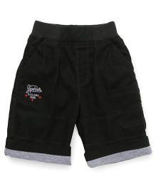 Jash Kids Shorts With Text Embroidery - Black