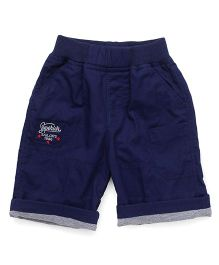 Jash Kids Shorts With Text Embroidery - Blue