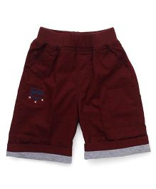 Jash Kids Shorts With Text Embroidery - Maroon