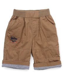 Jash Kids Shorts With Text Embroidery - Khaki