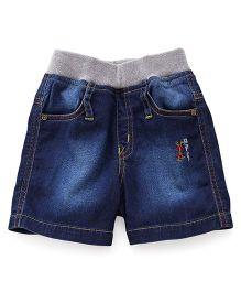 Jash Kids Denim Shorts With Embroidery - Dark Blue