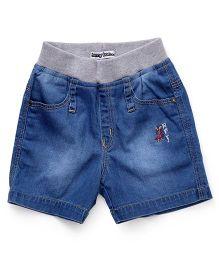 Jash Kids Denim Shorts With Embroidery - Light Blue