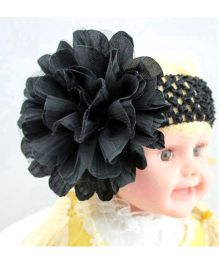 Akinos Kids Crochet Hair Accessory With Flower - Black
