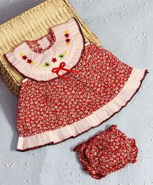 BunChi Floral dress With Bloomer - Red
