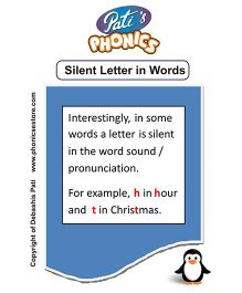 Phonics Silent Letter In Words Flash Cards - English