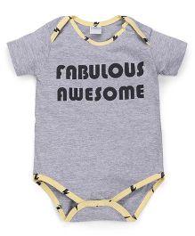 Babyhug Half Sleeves Onesie Fabulous Awesome Print - Grey