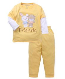 Child World Full Sleeves T-Shirt And Pants Set Friends Patch - Yellow
