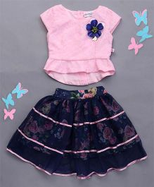Peppermint Short Sleeves Top And Skirt Set Floral Applique - Pink And Navy Blue