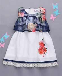 Peppermint Sleeveless Frock Rose Flower Print And Lace Hem - White & Blue