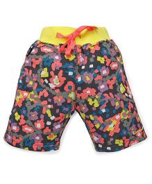 Tiny Bee Floral Print Shorts - Grey Melange