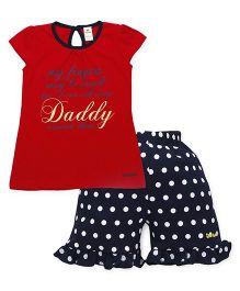 Tiny Bee Cap Sleeve Tee & Shorts Set - Red & Navy