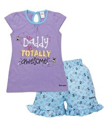 Tiny Bee Girls Cap Sleeve Tee & Shorts Set - Lilac & Turquoise